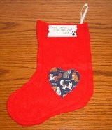 FREE New red felt cat kitten heart christmas x-mas stocking with wooden placket in Chicago, Illinois